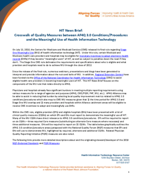 HIT News Brief: Crosswalk of Quality Measures Between AF4Q 3.0 Conditions/Procedures and the Meaningful Use of Health Information Technology