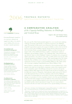 A Comparative Analysis of the Capacity-building Industries in Pittsburgh and Central Texas