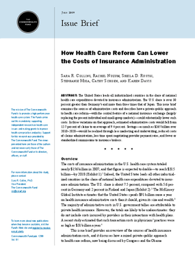 How Health Care Reform Can Lower the Costs of Insurance Administration