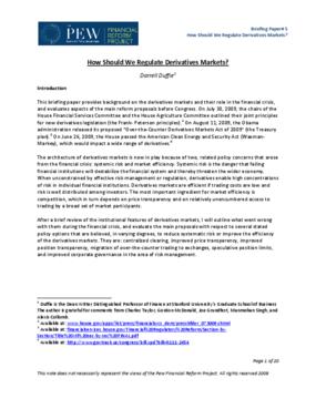 How Should We Regulate Derivatives Markets?
