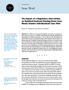 The Impact of a Regulatory Intervention on Resident-Centered Nursing Home Care: Rhode Island's Individualized Care Pilot
