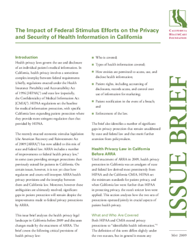 The Impact of Federal Stimulus Efforts on the Privacy and Security of Health Information in California