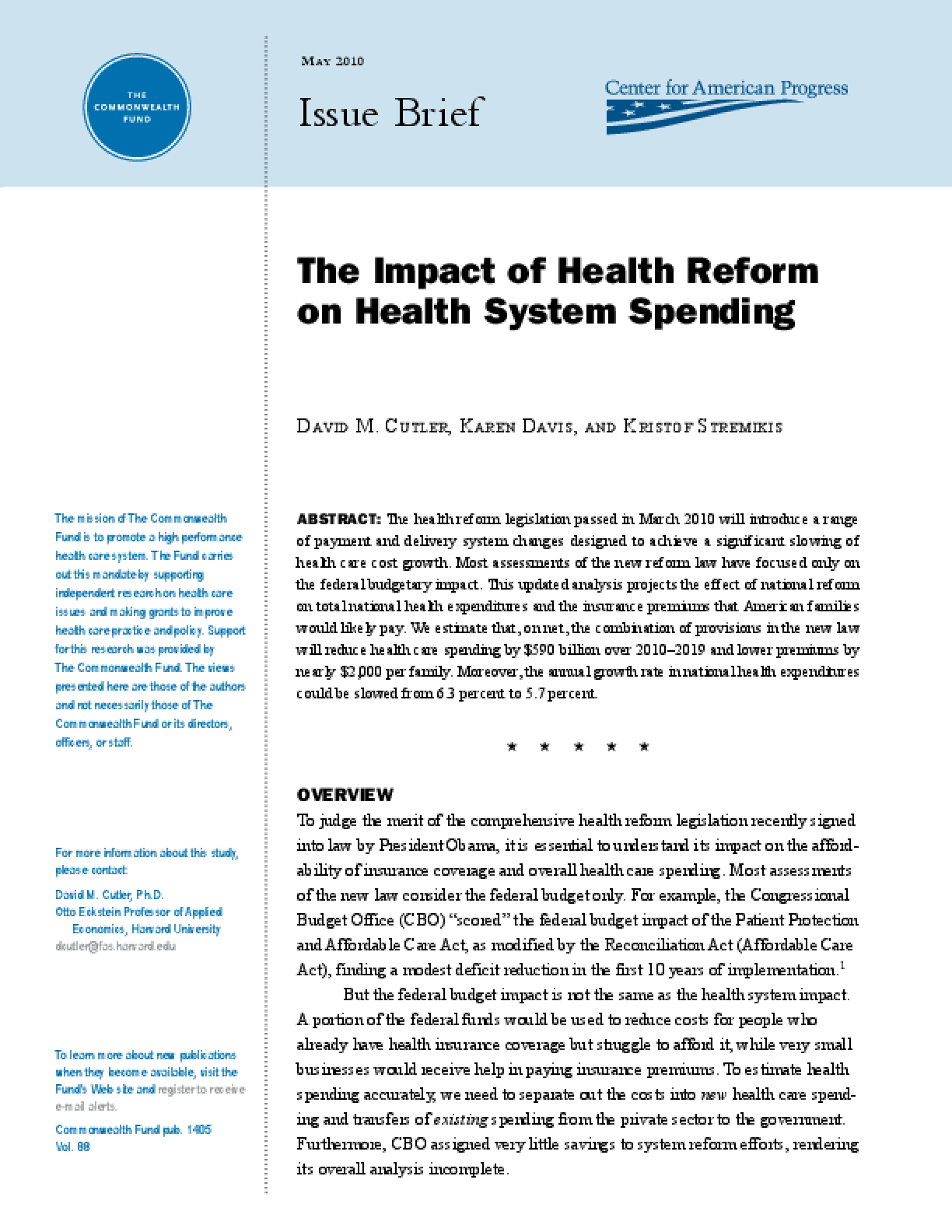 The Impact of Health Reform on Health System Spending