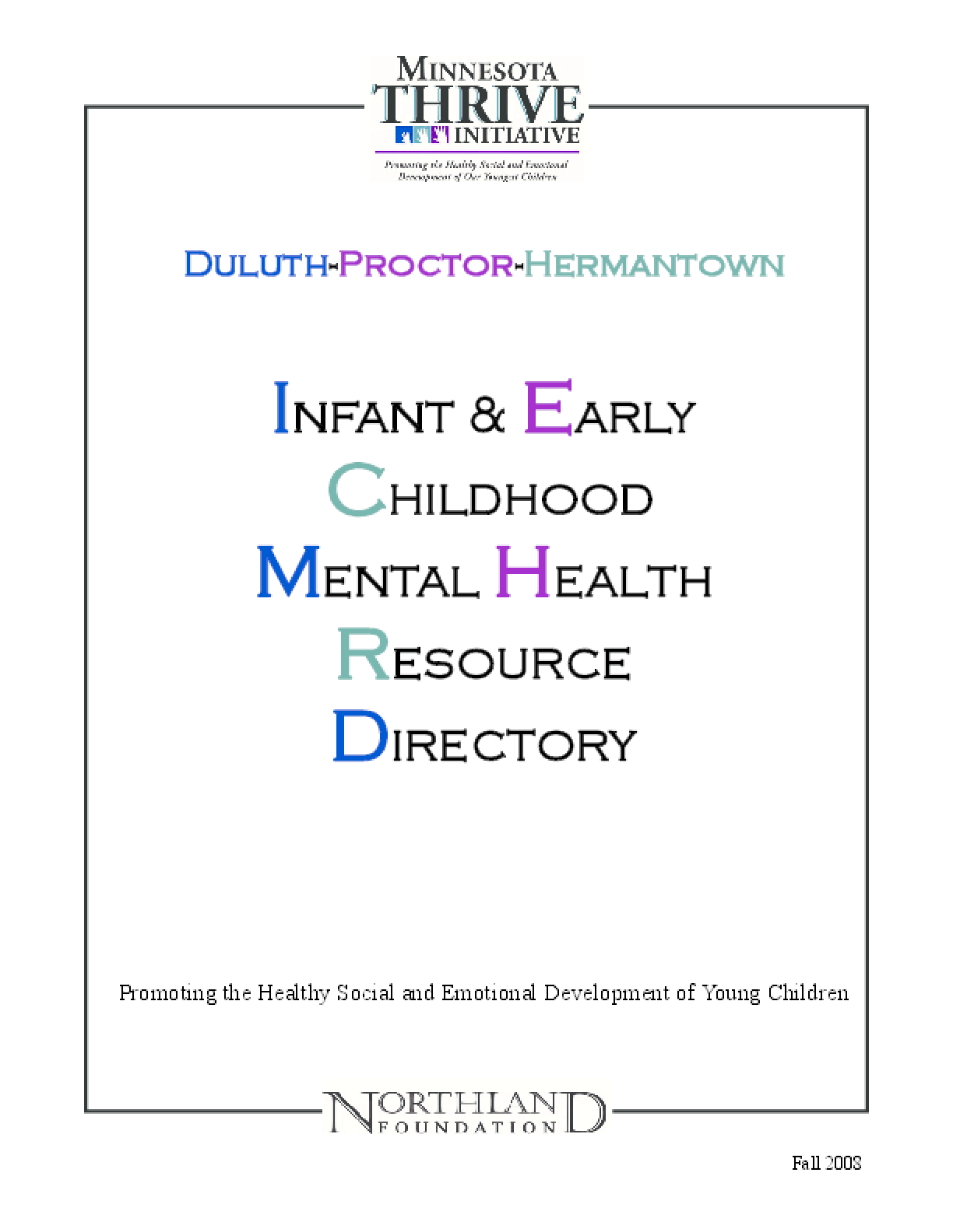 Infant and Early Childhood Mental Health Resource Directory