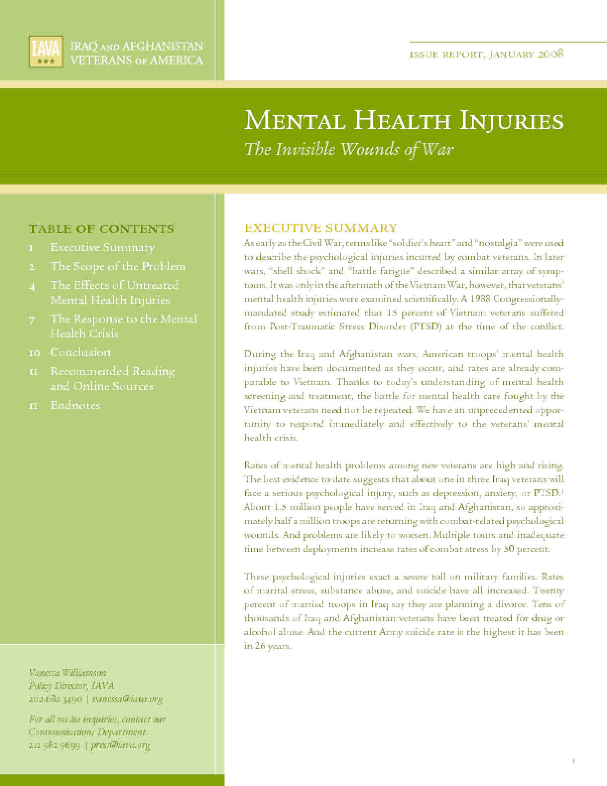 Mental Health Injuries The Invisible Wounds Of War Issuelab