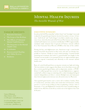 Mental Health Injuries: The Invisible Wounds of War