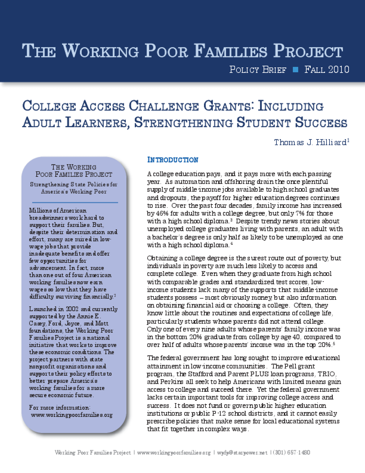 Innovations in College Access: Including Adult Learners, Strengthening Student Success
