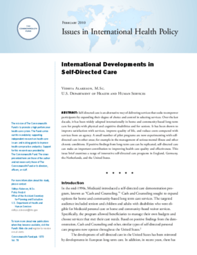 International Developments in Self-Directed Care