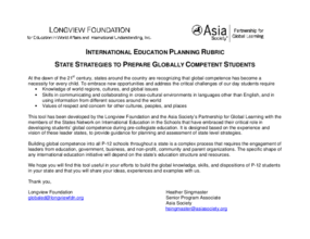 International Education Planning Rubric: State Strategies to Prepare Globally Competent Students