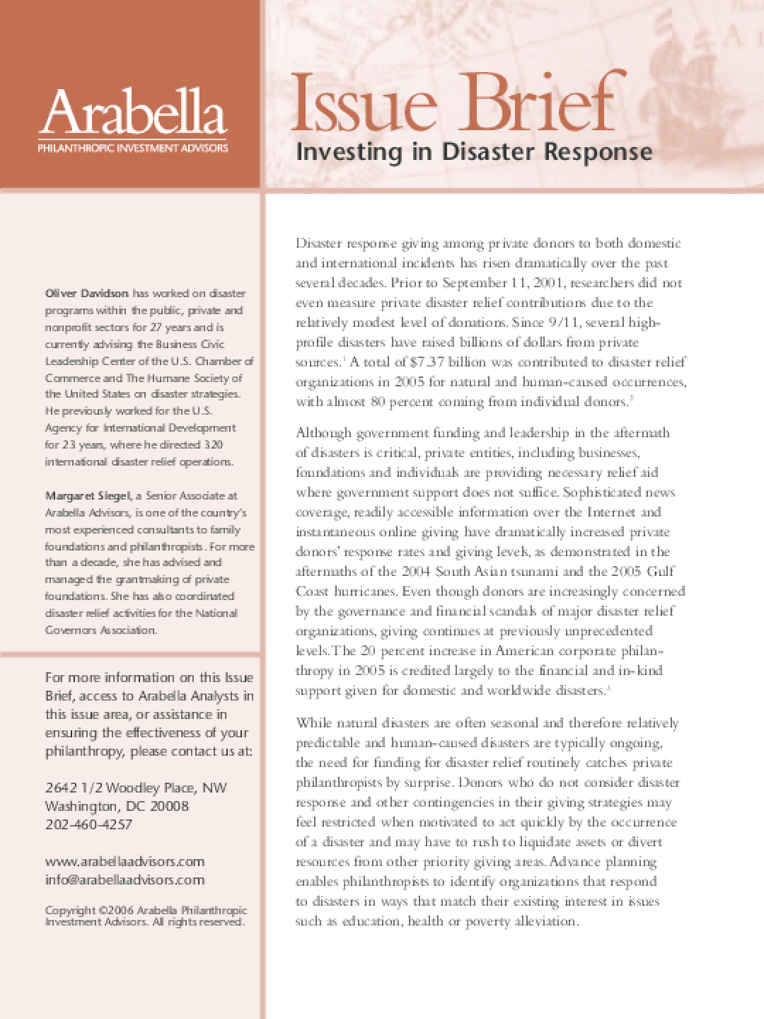 Investing in Disaster Response