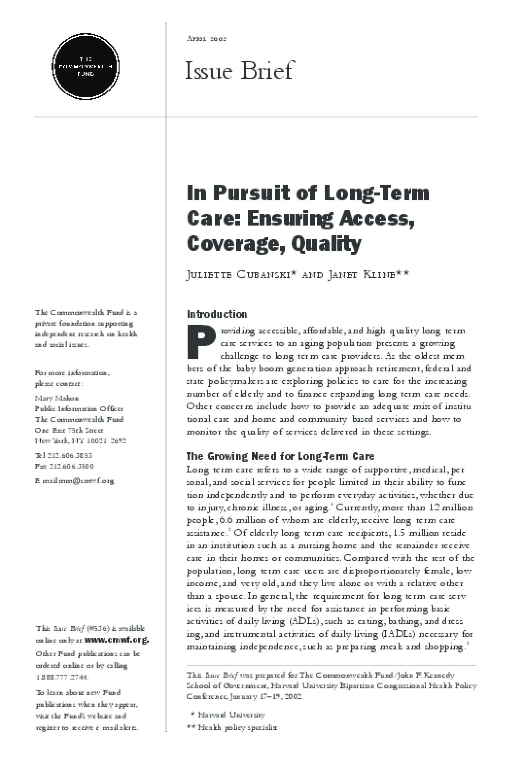 In Pursuit of Long-Term Care: Ensuring Access, Coverage, Quality