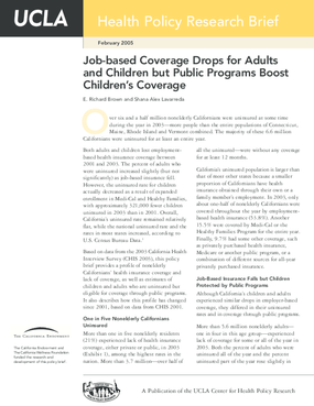 Job-based Coverage Drops for Adults and Children but Public Programs Boost Children's Coverage