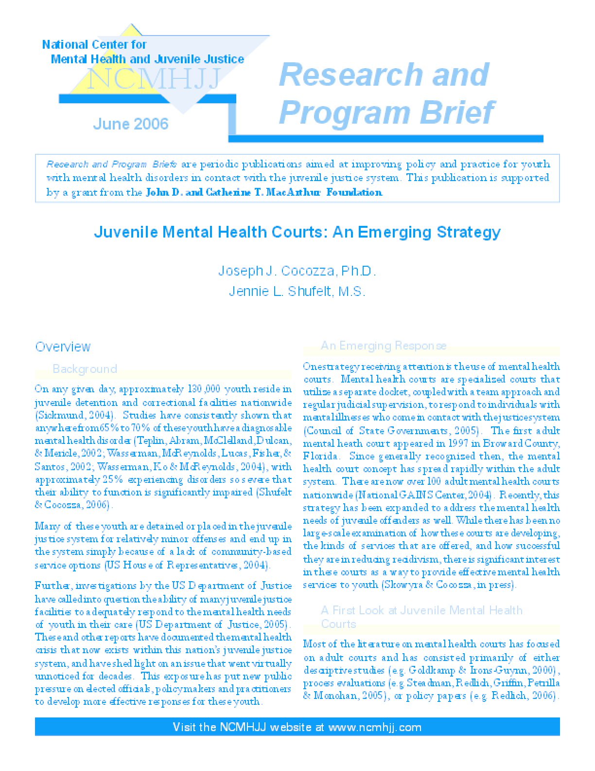 Juvenile Mental Health Courts: An Emerging Strategy