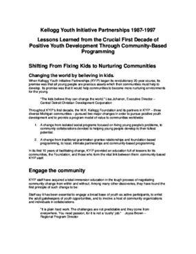 Kellogg Youth Initiative Partnerships, 1987 - 1997