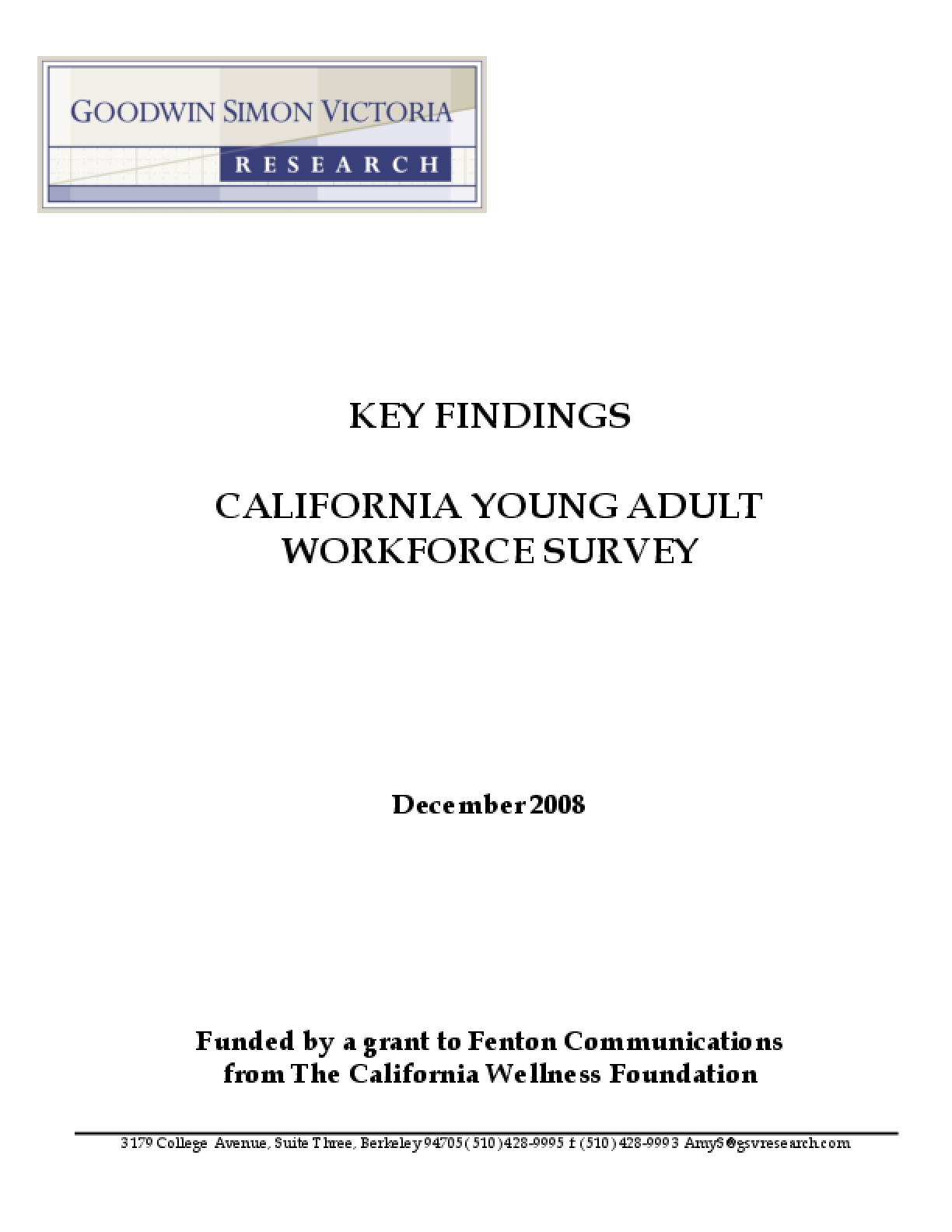 Key Findings: California Young Adult Workforce Survey