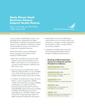 Key Findings From Qualitative and Quantitative Research Among America's Small Business Owners