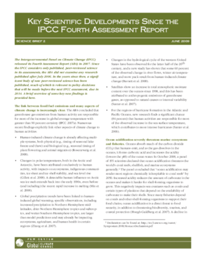 Key Scientific Developments Since the IPCC Fourth Assessment Report