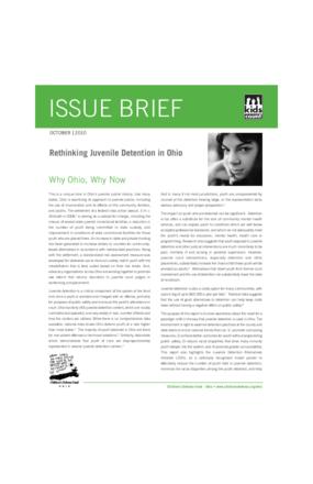KIDS COUNT Issue Brief: Rethinking Juvenile Detention in Ohio